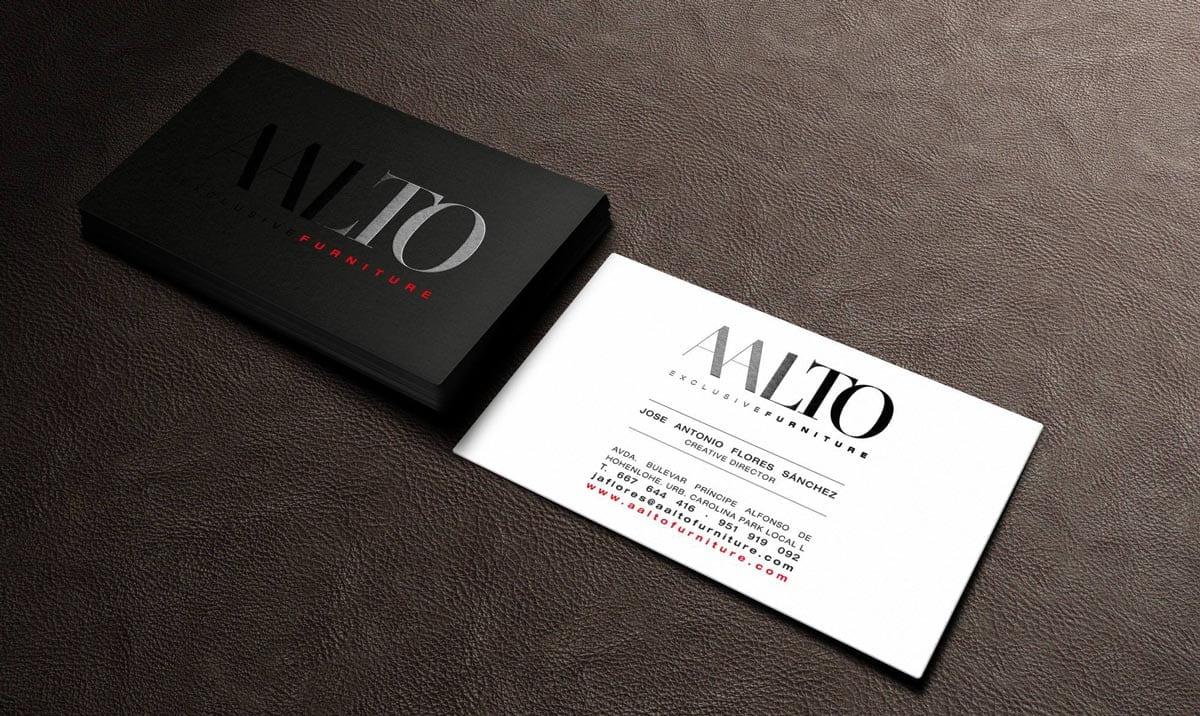 Tarjetas de visita con uvi brillo para Aalto exclusive design