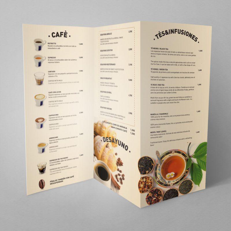 Diseño de carta triptica de menu restaurante con fotos