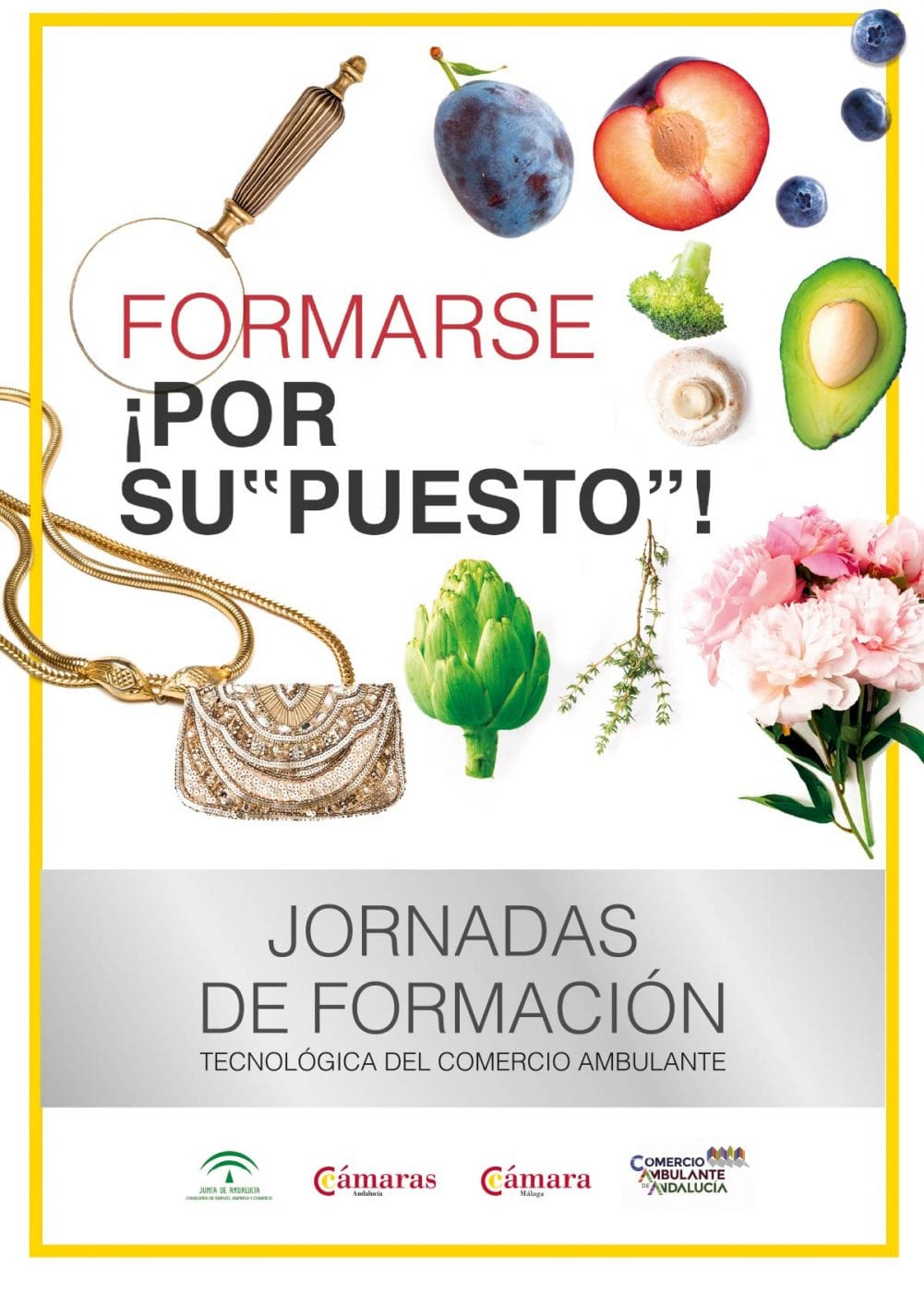 Cámara de Comercio de Málaga. Campaña creativa para cursos de formación para tenderos de los mercadillos de Málaga