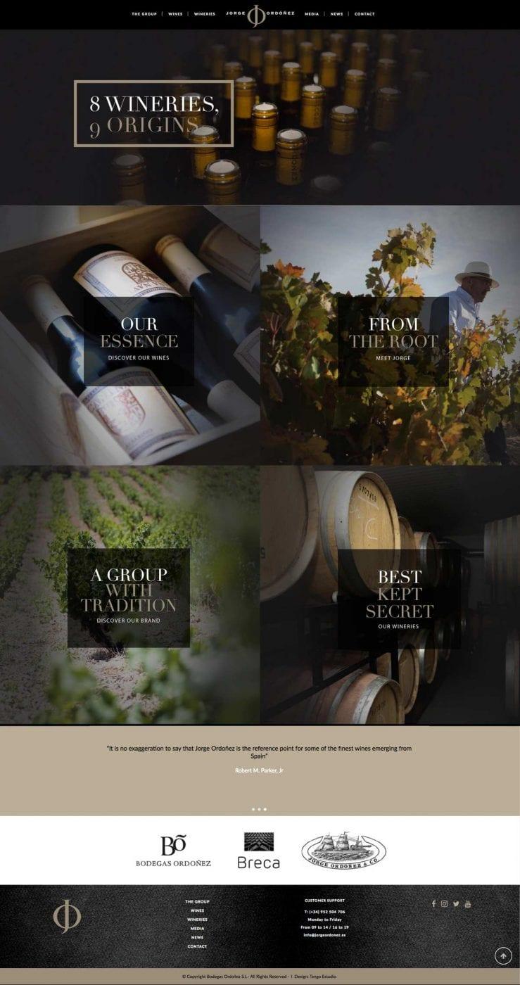 diseño de pagina web para bodegas de vino