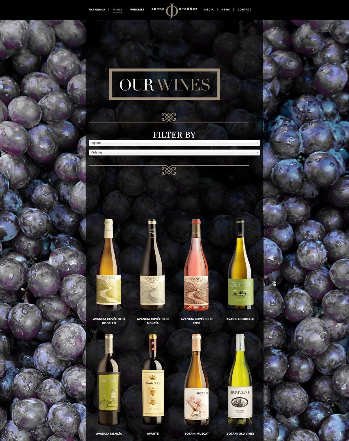 diseño en color negro para web de vinos