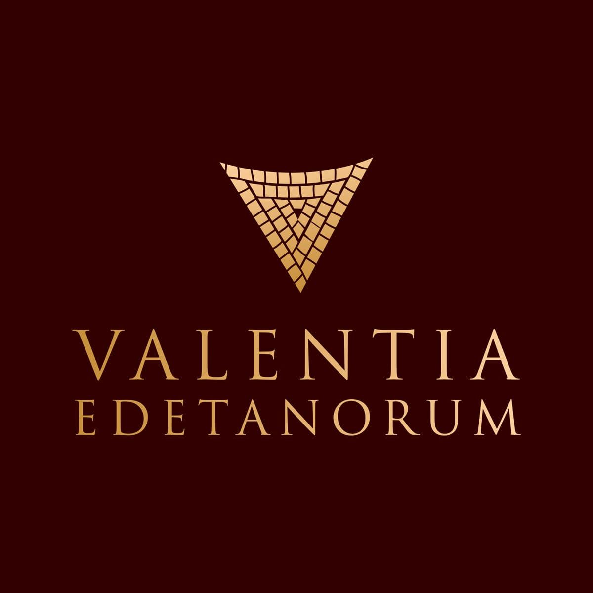 Valentia, diseño de logotipo y botella de vino con caja