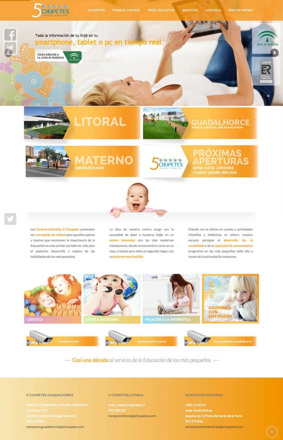 diseño de home para web infantil