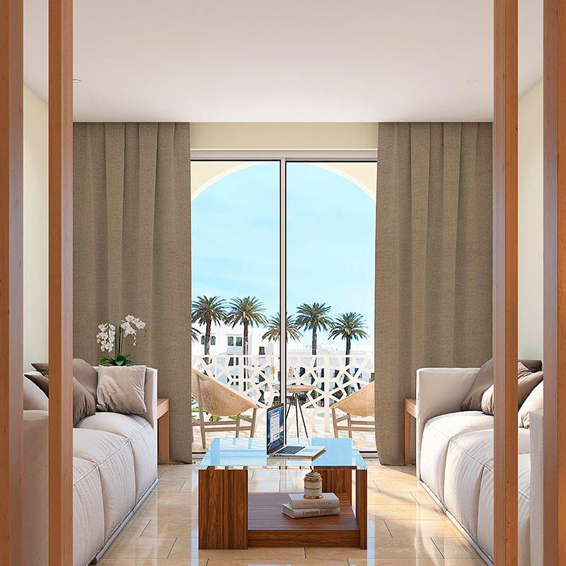 infografia 3d para salon y terraza