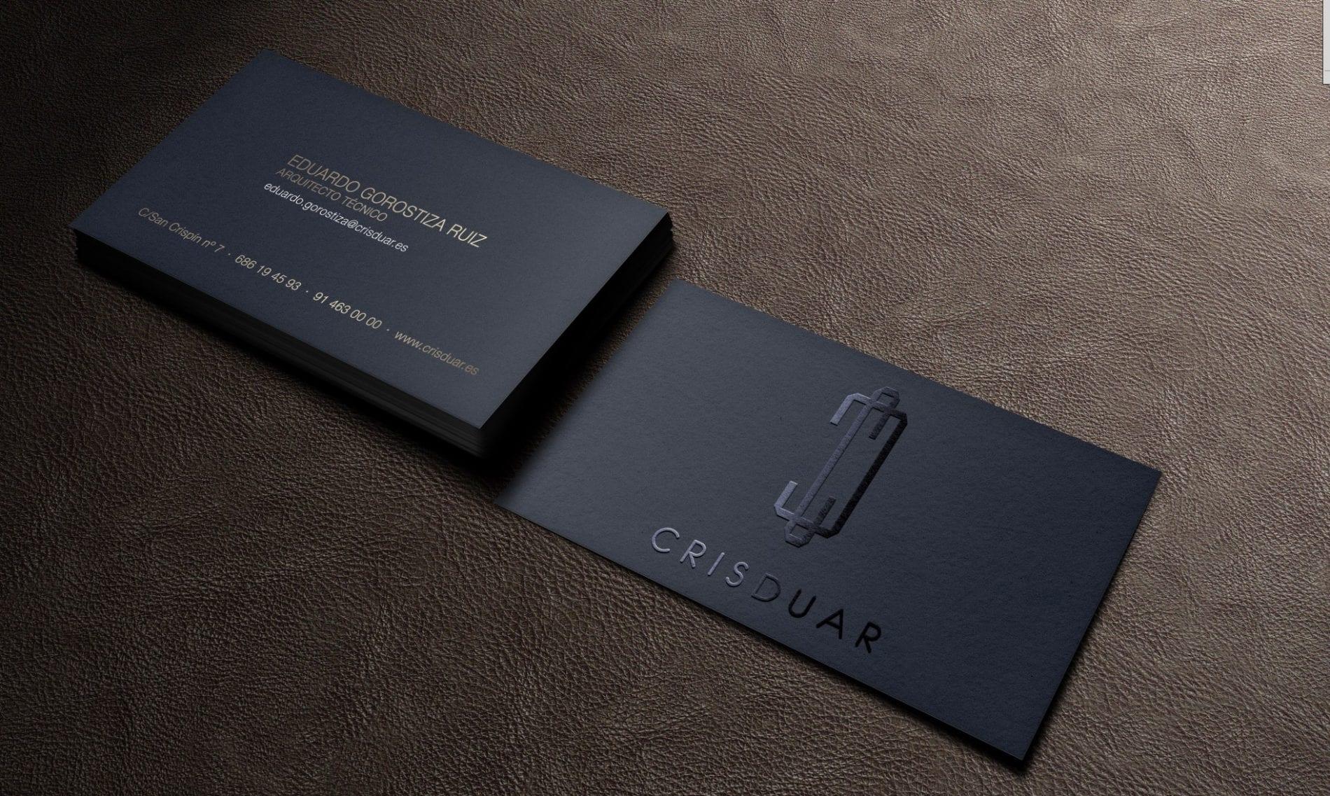 tarjetas de visita elegante en color negro