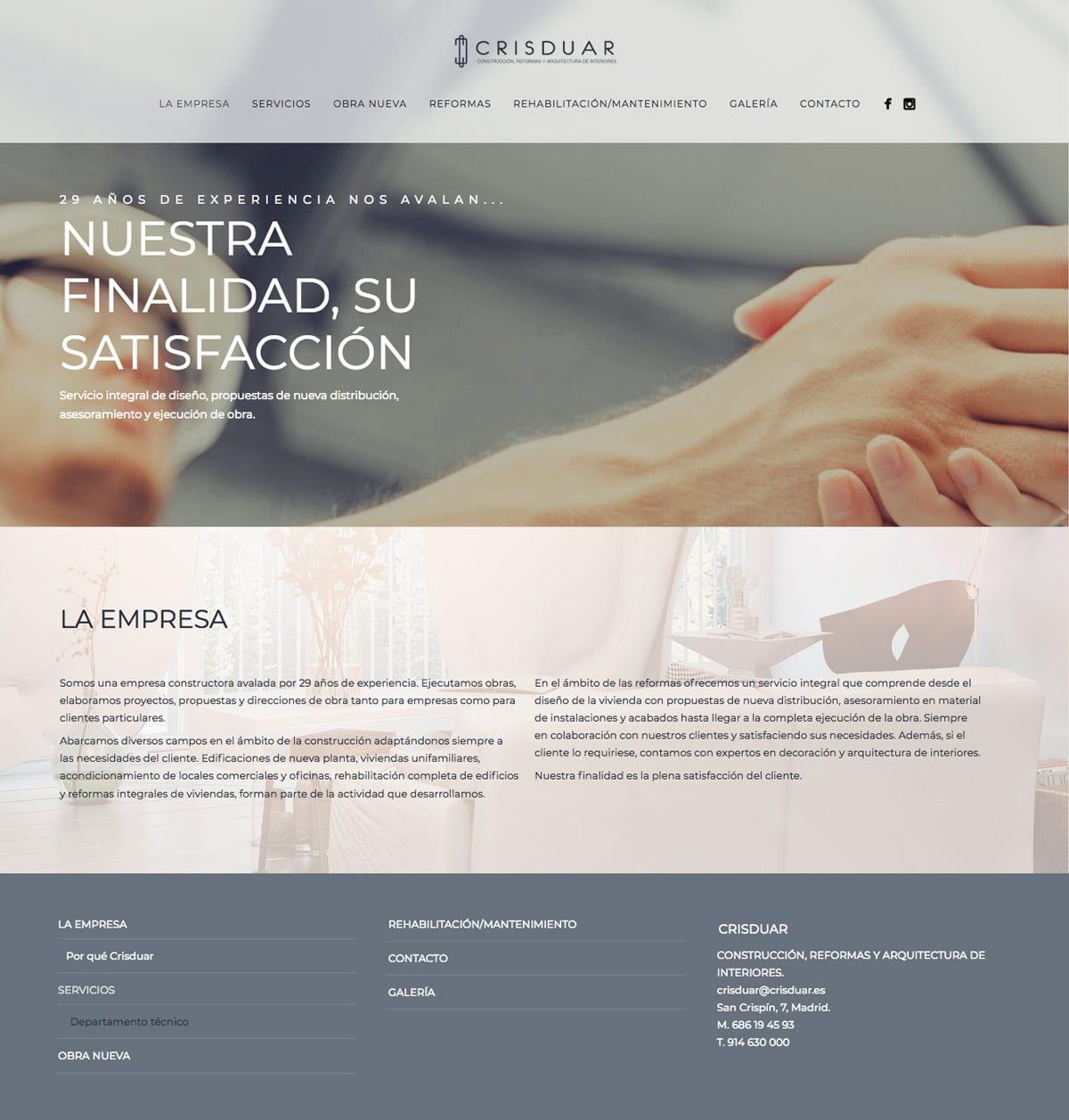 diseño de web para empresa de construccion