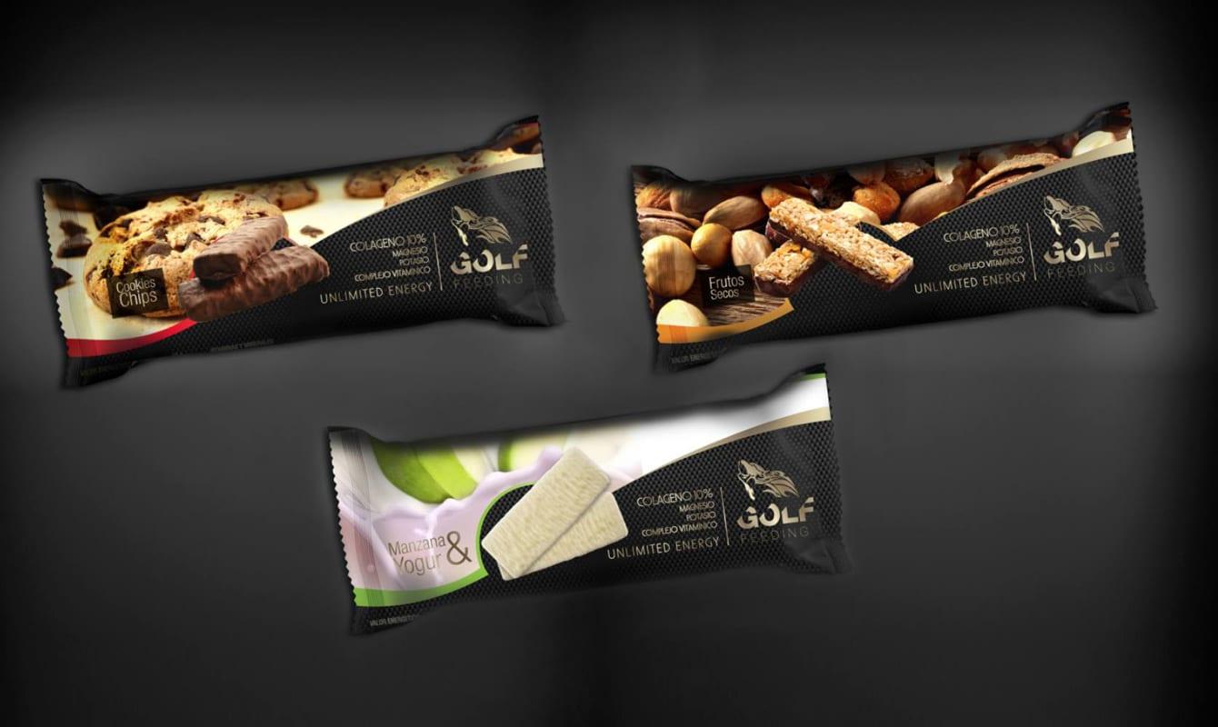 diseño de paquetes envoltorios para golf feeding