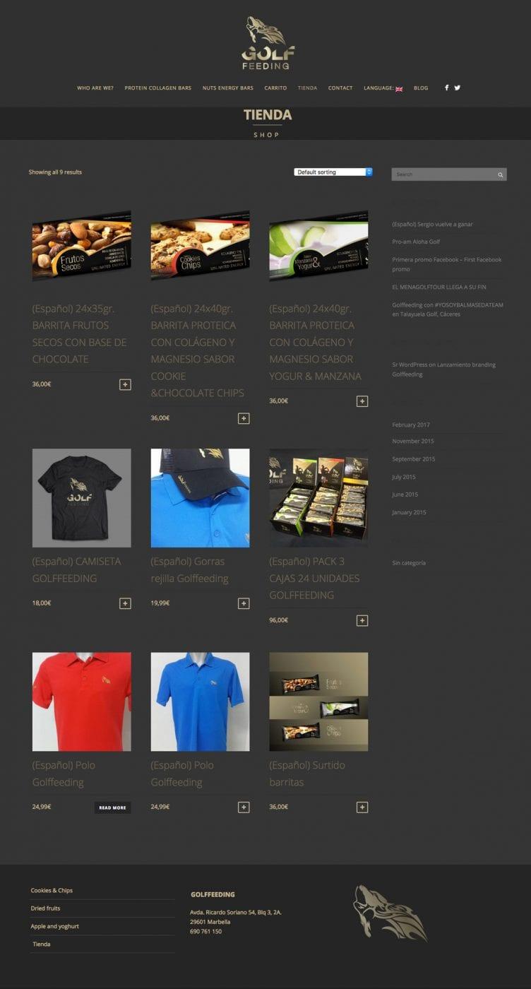 Golf Feeding, diseño web para marca de deporte