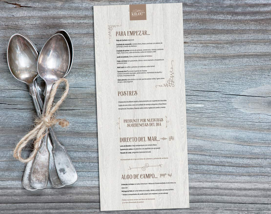 Diseño de carta menu para restaurante vegano