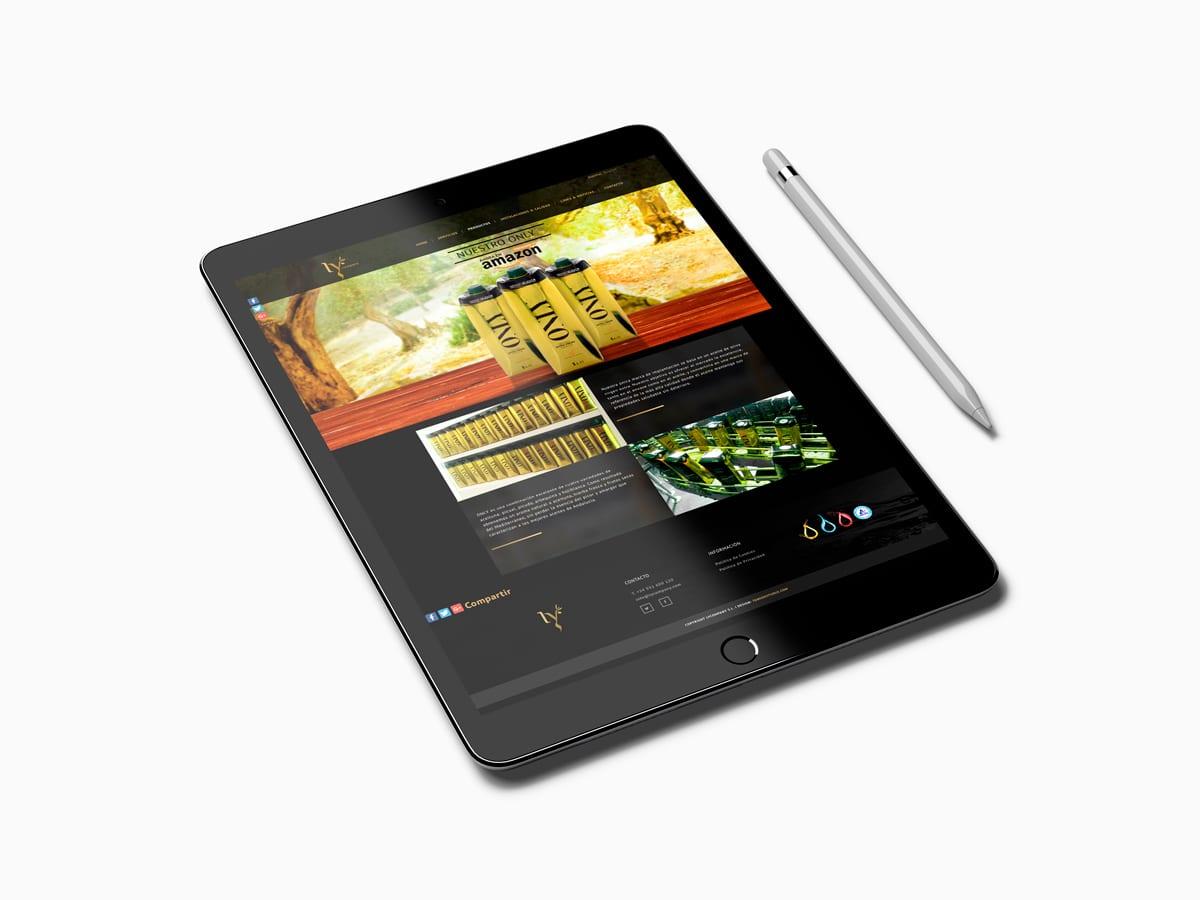 Diseño para tablet para empresa de aceites
