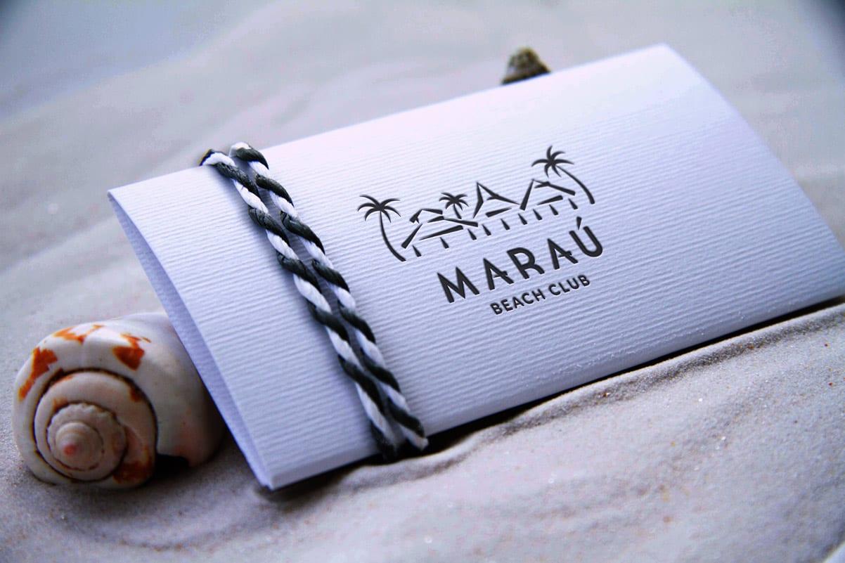 Marau, Almería, Beach club, Diseño de logotipo aplicado a tarjeta de visita