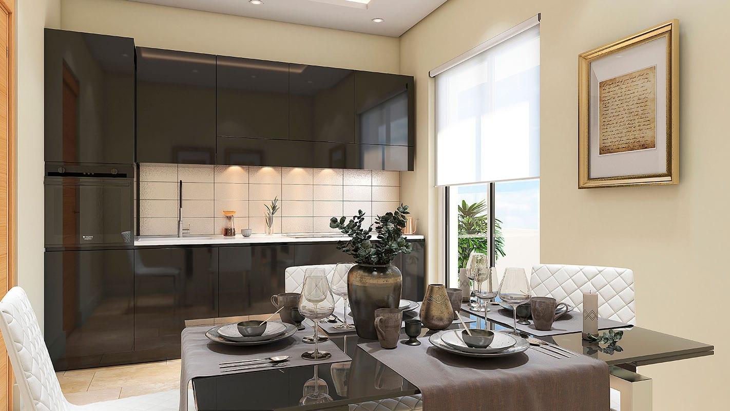cocina realizada en 3d para empresa constructora