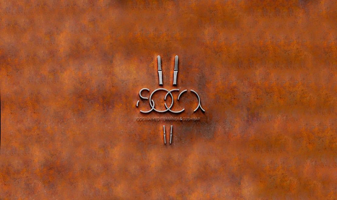 Soca, diseño de logo moderno y elegante