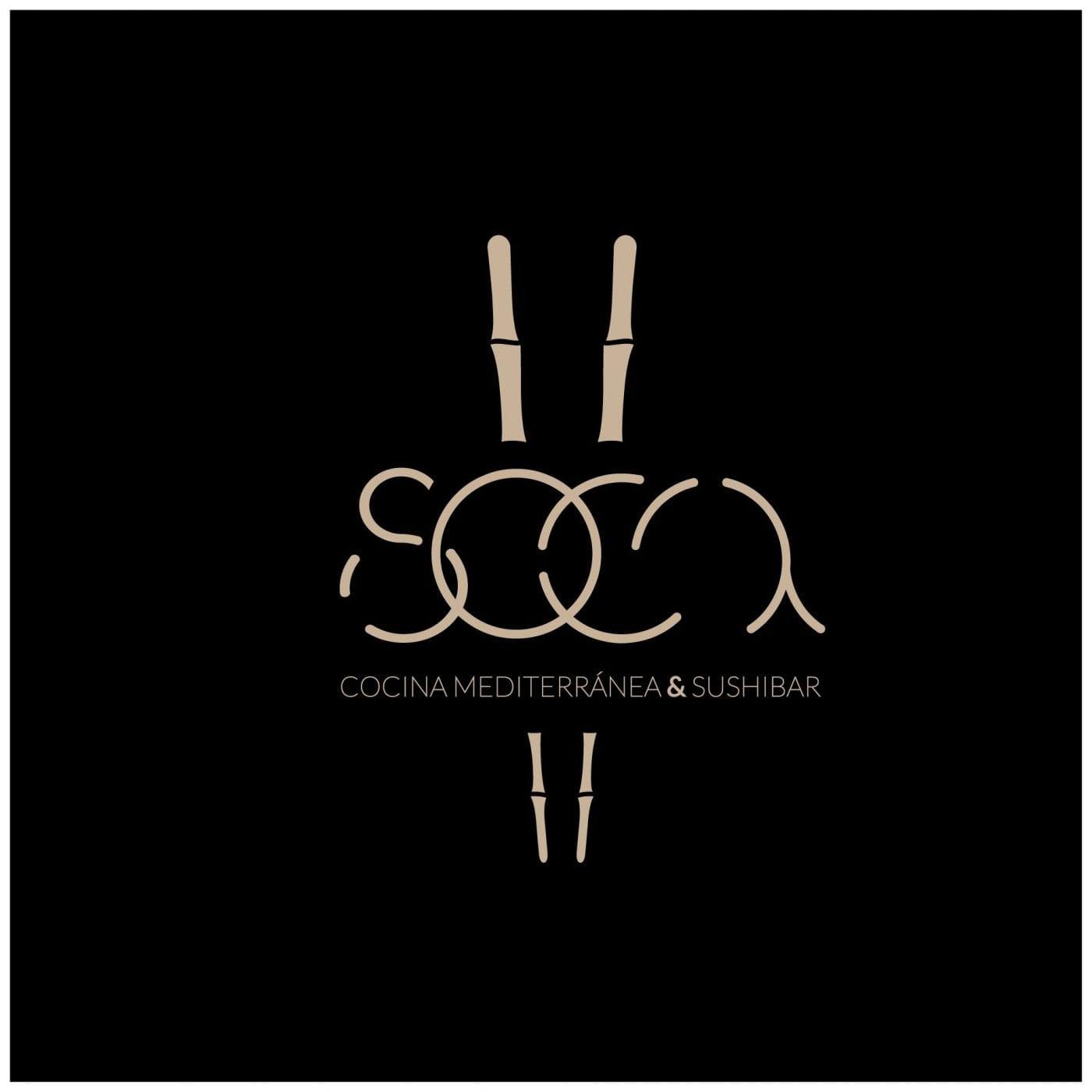 Soca, diseño sobre fondo negro de logotipo elegante