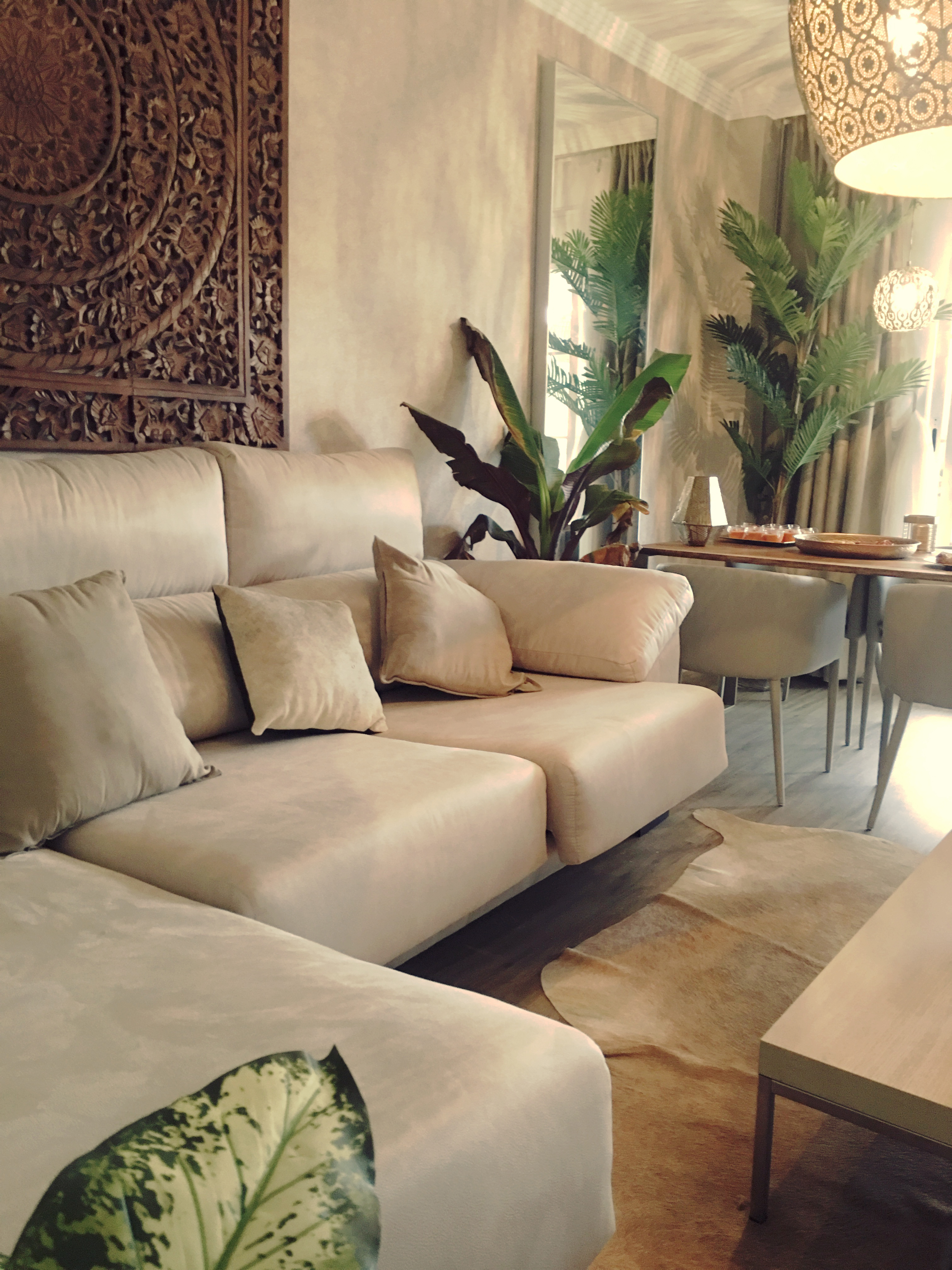 vista detalle de decoracion sofa