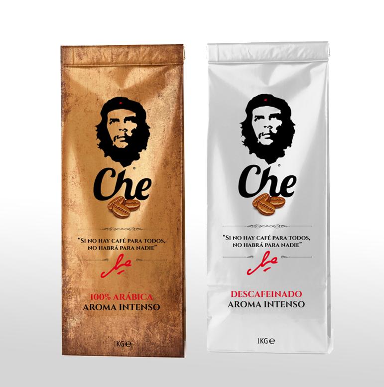 Diseño de packaging para cafes de la marca CHE GUEVARA