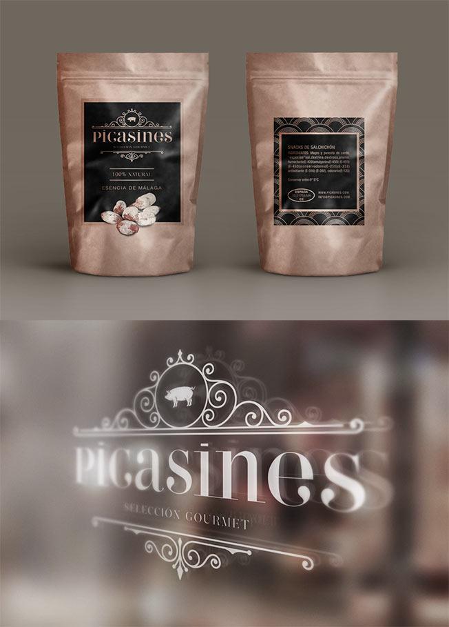 diseño de conjunto de envases y sobres para picasines